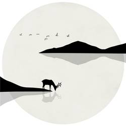Deer with black mountain art print by Gallerist