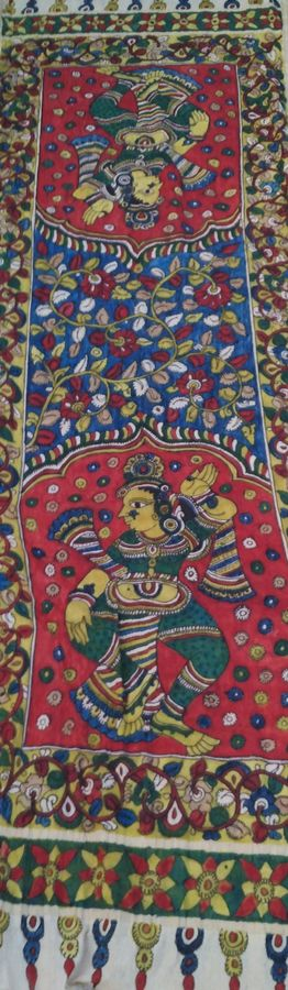 sri kalahasti kalamkari , 98 x 35 inch, mohan talisetty,folk art paintings,kalamkari painting,cloth,natural color,98x35inch,GAL05521349