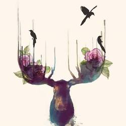 Deer with black bird  art print by Gallerist