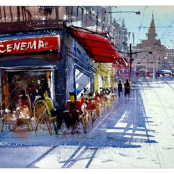 greece cafe, 21 x 14 inch, sankar thakur,cityscape paintings,paintings for living room,fabriano sheet,watercolor,21x14inch,GAL07135