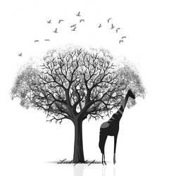 Big Giraffe with a big tree art print by Gallerist