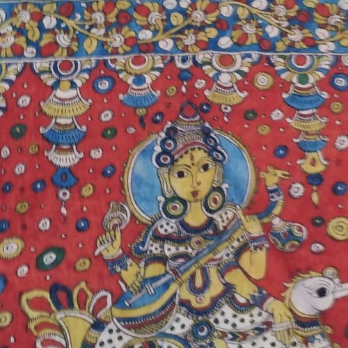 sri kalahasti in peace, 98 x 35 inch, mohan talisetty,folk art paintings,cloth,natural color,98x35inch,GAL05521351