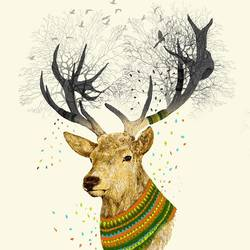 Deer with shine colour  art print by Gallerist