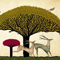 Big brown tree with small deer  art print by Gallerist