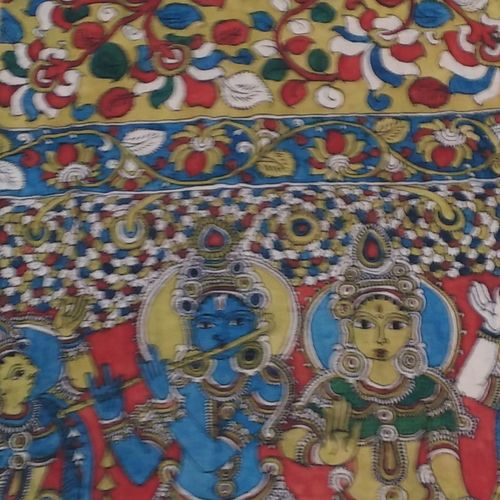 devotion of  kalahasti kalamkari , 98 x 35 inch, mohan talisetty,folk art paintings,kalamkari painting,cloth,natural color,98x35inch,GAL05521353
