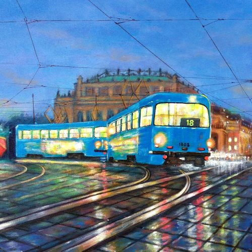 blue tram in city of joy, 20 x 16 inch, sandeep rawal ,abstract paintings,cityscape paintings,landscape paintings,street art,contemporary paintings,paintings for dining room,paintings for living room,paintings for bedroom,paintings for office,paintings for bathroom,paintings for kids room,paintings for hotel,paintings for kitchen,paintings for school,paintings for hospital,canvas,acrylic color,20x16inch,GAL0251113537