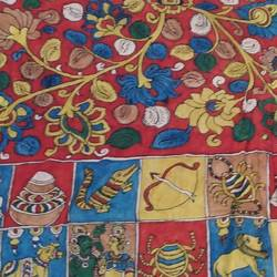 lord kalahasti kalamkari, 98 x 35 inch, mohan talisetty,folk art paintings,kalamkari painting,cloth,natural color,98x35inch,GAL05521354