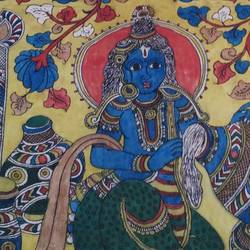 lord krishna in dupatta, 98 x 35 inch, mohan talisetty,folk art paintings,cloth,natural color,98x35inch,GAL05521355