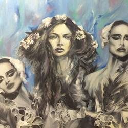beautiful women blue, 36 x 48 inch, sanjana gothi,figurative paintings,portrait paintings,portraiture,contemporary paintings,realistic paintings,paintings for dining room,paintings for living room,paintings for bedroom,paintings for office,paintings for bathroom,paintings for hotel,paintings for kitchen,paintings for hospital,canvas,oil,36x48inch,GAL0466613554