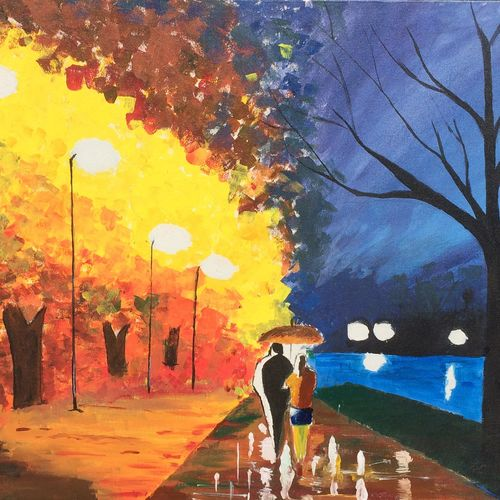 night walk , 12 x 16 inch, imanshu jain,modern art paintings,paintings for living room,love paintings,canvas,acrylic color,12x16inch,GAL05551357heart,family,caring,happiness,forever,happy,trust,passion,romance,sweet,kiss,love,hugs,warm,fun,kisses,joy,friendship,marriage,chocolate,husband,wife,forever,caring,couple,sweetheart
