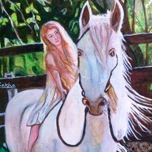 young girl on horse, 12 x 16 inch, aboli moroney,figurative paintings,paintings for living room,horse paintings,canvas,oil,12x16inch,GAL05561359