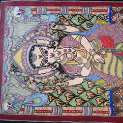 ma durga mithila paintin, 10 x 5 inch, hari mohan  jha,paintings,religious paintings,paintings for dining room,paintings for living room,paintings for bedroom,paintings for office,paintings for hotel,paintings for school,paintings for hospital,paintings for dining room,paintings for living room,paintings for bedroom,paintings for office,paintings for hotel,paintings for school,paintings for hospital,drawing paper,ink color,10x5inch,GAL0564213590