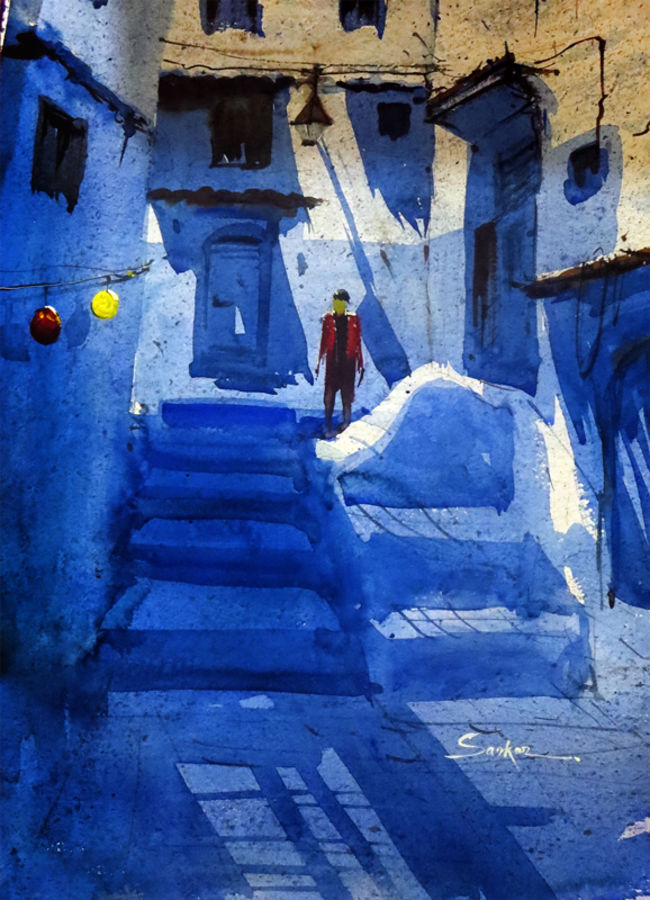 blue city greece, 21 x 14 inch, sankar thakur,landscape paintings,paintings for living room,fabriano sheet,watercolor,21x14inch,GAL07136