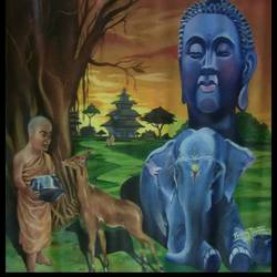 lord gautam buddha - believe in god, 33 x 33 inch, rajan parmar,buddha paintings,paintings for living room,canvas,acrylic color,33x33inch,religious,peace,meditation,meditating,gautam,goutam,buddha,monk,forest,elephant,deer,temple,tree,face,GAL05501360