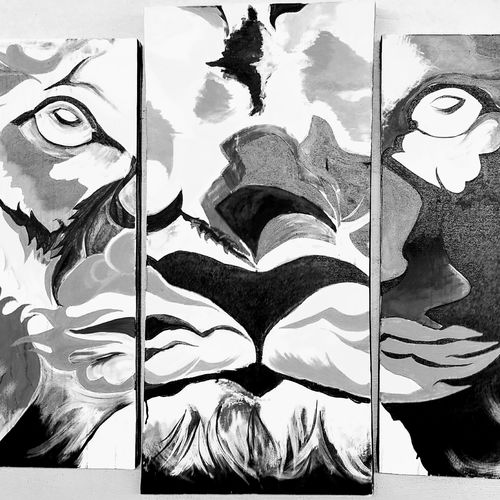 5 piece black and white tiger abstract, 90 x 42 inch, ajit rathod,paintings,abstract paintings,wildlife paintings,modern art paintings,multi piece paintings,conceptual paintings,abstract expressionist paintings,art deco paintings,animal paintings,paintings for dining room,paintings for living room,paintings for bedroom,paintings for office,paintings for hotel,canvas,acrylic color,90x42inch,GAL0562413602