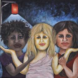 women friends different racial colors, 24 x 24 inch, jitender dhir,paintings,figurative paintings,art deco paintings,love paintings,paintings for dining room,paintings for living room,paintings for bedroom,paintings for dining room,paintings for living room,paintings for bedroom,canvas,acrylic color,24x24inch,GAL0566513604