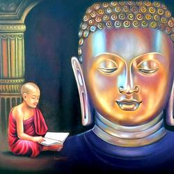 golden buddha , 46 x 32 inch, gopal sharma,paintings,buddha paintings,paintings for living room,paintings for kids room,paintings for school,canvas,oil,46x32inch,religious,peace,meditation,meditating,gautam,goutam,buddha,idol,monk,monk reading,temple,gold,golden,GAL0460013609