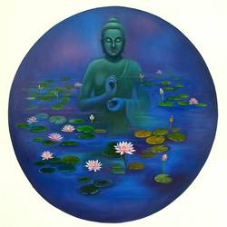 buddha with water lilies , 42 x 42 inch, gopal sharma,paintings,buddha paintings,paintings for living room,paintings for office,paintings for school,paintings for hospital,canvas,oil,42x42inch,religious,peace,meditation,meditating,gautam,goutam,buddha,pond,lotus,mudra,green,blue,giving blessing,lilly,GAL0460013612