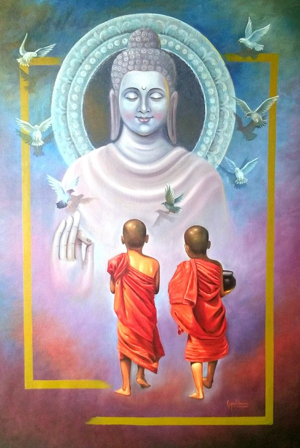 two little monk , 31 x 46 inch, gopal sharma,paintings,buddha paintings,religious paintings,paintings for dining room,paintings for living room,paintings for office,paintings for hotel,paintings for school,paintings for hospital,canvas,oil,31x46inch,religious,peace,meditation,meditating,gautam,goutam,buddha,monks,mudra,blessing,birds,peaceful,GAL0460013613