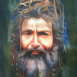 sadhu , 36 x 42 inch, gopal sharma,paintings,figurative paintings,photorealism paintings,paintings for dining room,paintings for living room,paintings for bedroom,paintings for office,paintings for hotel,paintings for school,canvas,acrylic color,oil,36x42inch,GAL0460013614