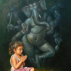 little priest, 32 x 46 inch, gopal sharma,figurative paintings,religious paintings,paintings for dining room,paintings for living room,paintings for bedroom,paintings for office,paintings for school,canvas,oil,32x46inch,GAL0460013615