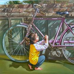 little mechanic , 58 x 38 inch, gopal sharma,figurative paintings,photorealism paintings,paintings for dining room,paintings for living room,paintings for office,paintings for kids room,paintings for hotel,children paintings,kids paintings,canvas,oil,58x38inch,GAL0460013616