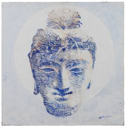 buddha head , 24 x 24 inch, bodhi selvam,paintings,buddha paintings,paintings for living room,paintings for office,canvas,acrylic color,24x24inch,religious,peace,meditation,meditating,gautam,goutam,buddha,lord,face,blue,white,idol,GAL0556613617