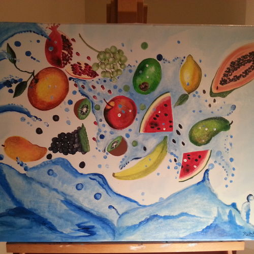 fruit splash, 25 x 25 inch, radhika menon,paintings,still life paintings,photorealism paintings,realistic paintings,paintings for dining room,paintings for hotel,paintings for kitchen,paintings for school,canvas,acrylic color,25x25inch,GAL0553313622