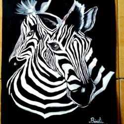 black- white zebras, 11 x 13 inch, binita mandal,paintings,animal paintings,paintings for dining room,paintings for living room,paintings for dining room,paintings for living room,thick paper,pen color,watercolor,11x13inch,GAL0567513627