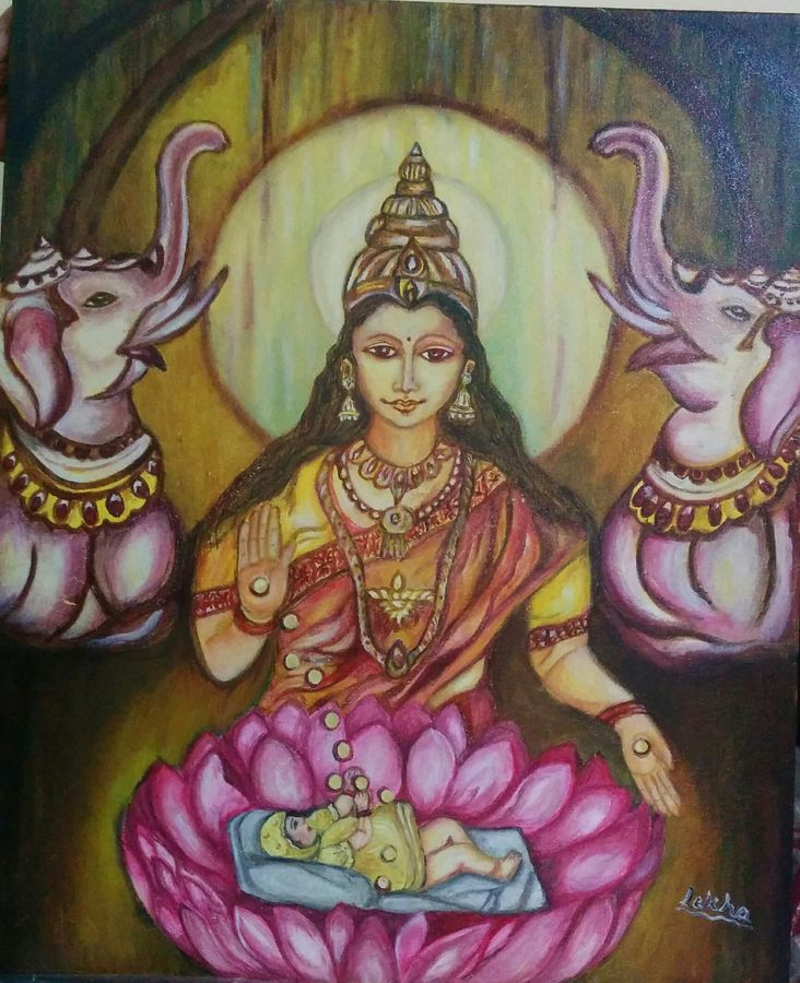 beti and laxmi, 20 x 24 inch, aboli moroney,conceptual paintings,paintings for living room,canvas,oil,20x24inch,GAL05561363