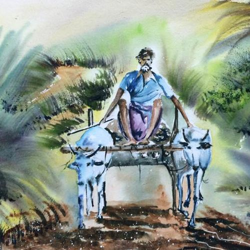 journey on bullockcart, 22 x 15 inch, dipankar  biswas,paintings,landscape paintings,paintings for living room,handmade paper,watercolor,22x15inch,GAL0293213633