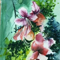 hibiscus glory, 11 x 16 inch, dipankar  biswas,paintings,flower paintings,paintings for bedroom,brustro watercolor paper,watercolor,11x16inch,GAL0293213636