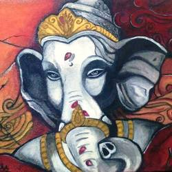 ganesha in stone wall, 16 x 12 inch, aboli moroney,paintings for living room,ganesha paintings,canvas,oil,16x12inch,GAL05561364,vinayak,ekadanta,ganpati,lambodar,peace,devotion,religious,lord ganesha,lordganpati