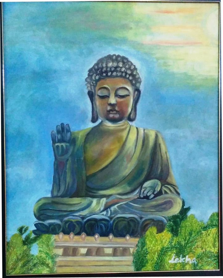 lantau buddha, 18 x 22 inch, aboli moroney,buddha paintings,paintings for living room,paintings for office,canvas,oil,18x22inch,religious,peace,meditation,meditating,gautam,goutam,buddha,idol,temple,giving blessing,GAL05561365