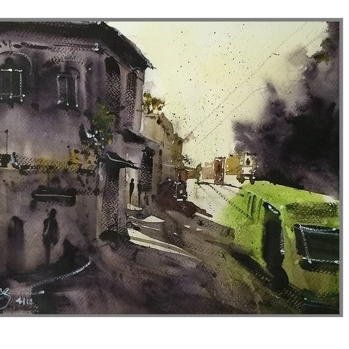 the mesmerising chaos called lucknow (lucknow series), 15 x 11 inch, pranav kulkarni,paintings,cityscape paintings,landscape paintings,abstract expressionist paintings,impressionist paintings,realism paintings,realistic paintings,paintings for dining room,paintings for living room,paintings for bedroom,paintings for office,paintings for hospital,paintings for dining room,paintings for living room,paintings for bedroom,paintings for office,paintings for hospital,fabriano sheet,watercolor,15x11inch,GAL0566413651