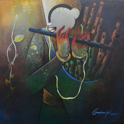 flute seller, 24 x 24 inch, anupam  pal,paintings,figurative paintings,paintings for dining room,paintings for living room,paintings for bedroom,paintings for office,paintings for bathroom,paintings for kids room,paintings for hotel,paintings for kitchen,paintings for school,paintings for hospital,canvas,acrylic color,24x24inch,GAL08213652