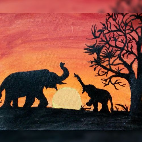 baby elephant playing with elephant, 11 x 16 inch, banishree behura,paintings,abstract paintings,paintings for dining room,paintings for living room,paintings for bedroom,paintings for office,paintings for kids room,paintings for hotel,canvas,acrylic color,11x16inch,GAL0547413654