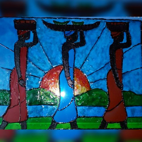 3 ladies returning home, 8 x 11 inch, banishree behura,paintings,abstract paintings,paintings for dining room,paintings for living room,paintings for bedroom,paintings for office,paintings for hotel,paintings for kitchen,acrylic glass,glass,8x11inch,GAL0547413655