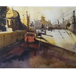 lucknow lights, 15 x 11 inch, pranav kulkarni,paintings,cityscape paintings,landscape paintings,impressionist paintings,realistic paintings,paintings for dining room,paintings for living room,paintings for bedroom,paintings for office,paintings for kitchen,paintings for hospital,paintings for dining room,paintings for living room,paintings for bedroom,paintings for office,paintings for kitchen,paintings for hospital,fabriano sheet,watercolor,15x11inch,GAL0566413657