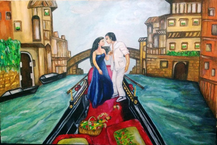 couple on a shikara, 36 x 24 inch, aboli moroney,figurative paintings,paintings for bedroom,love paintings,canvas,oil,36x24inch,GAL05561366heart,family,caring,happiness,forever,happy,trust,passion,romance,sweet,kiss,love,hugs,warm,fun,kisses,joy,friendship,marriage,chocolate,husband,wife,forever,caring,couple,sweetheart