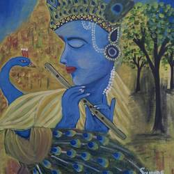 krishna, 24 x 24 inch, surendra kumar,paintings,religious paintings,paintings for dining room,paintings for living room,paintings for bedroom,paintings for office,paintings for kids room,paintings for hotel,paintings for school,paintings for hospital,canvas,oil,24x24inch,GAL0507513664
