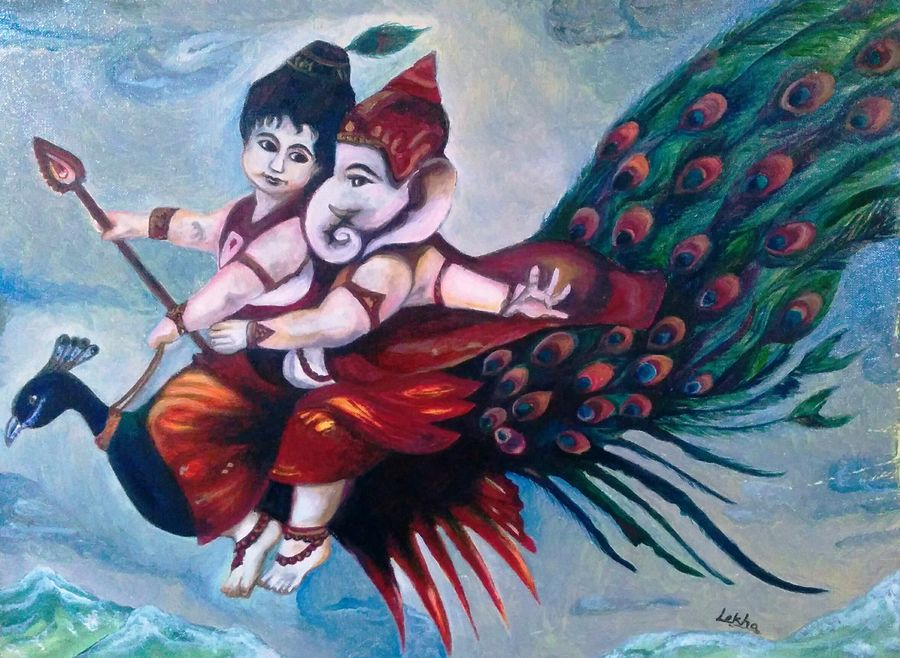 ganesha and kartikeya, 24 x 18 inch, aboli moroney,ganesha paintings,paintings for living room,paintings,conceptual paintings,religious paintings,paintings for office,paintings for hotel,paintings for office,paintings for hotel,canvas,oil,24x18inch,GAL05561367,vinayak,ekadanta,ganpati,lambodar,peace,devotion,religious,lord ganesha,lordganpati