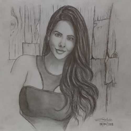 sonam bajwa, 12 x 9 inch, shahrukh  sareen,drawings,paintings for hotel,photorealism drawings,paintings for dining room,paintings for living room,paintings for bedroom,paintings for office,paintings for hotel,paper,graphite pencil,12x9inch,GAL0304713672