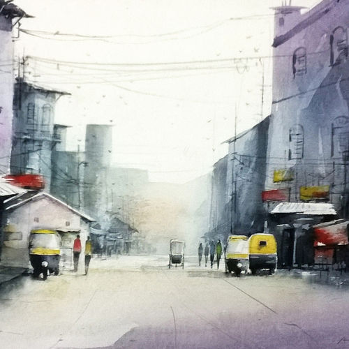 cityscape, 22 x 13 inch, avijit sil,paintings,cityscape paintings,paintings for dining room,paintings for living room,paintings for bedroom,paintings for hotel,paintings for school,paintings for hospital,paper,watercolor,22x13inch,GAL0508713673