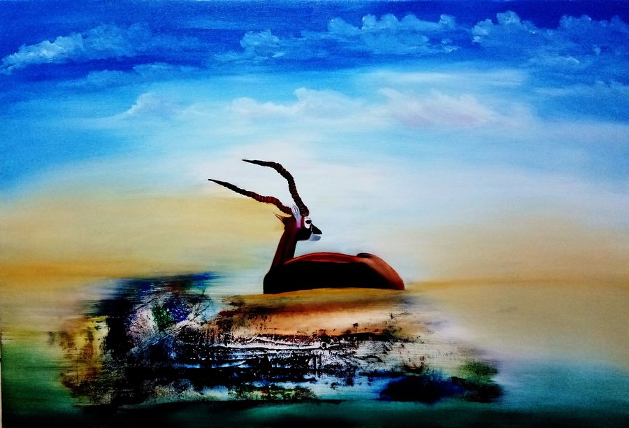 beautiful deer , 30 x 24 inch, inderjeet singh,nature paintings,abstract expressionist paintings,animal paintings,paintings for living room,paintings for bedroom,canvas,oil,30x24inch,GAL0571513674Nature,environment,Beauty,scenery,greenery
