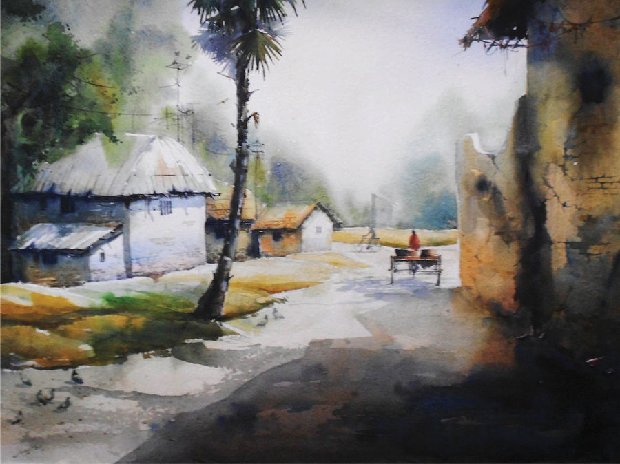 the village, 30 x 22 inch, avijit sil,paintings,nature paintings,paintings for dining room,paintings for bedroom,paintings for kids room,paintings for hotel,paintings for kitchen,paintings for school,paintings for hospital,paper,watercolor,30x22inch,GAL0508713677Nature,environment,Beauty,scenery,greenery