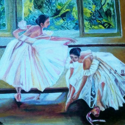 ballerinas, 18 x 14 inch, aboli moroney,figurative paintings,paintings for living room,canvas,oil,18x14inch,GAL05561368