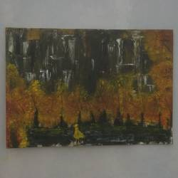 fall , 13 x 9 inch, akshaya saravanan,paintings,abstract paintings,landscape paintings,canvas,oil,13x9inch,GAL0479013687