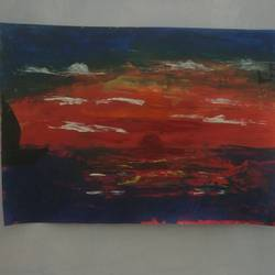 sun set, 13 x 9 inch, akshaya saravanan,paintings,abstract paintings,landscape paintings,nature paintings,canvas,acrylic color,oil,13x9inch,GAL0479013689Nature,environment,Beauty,scenery,greenery