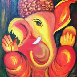 ganesha in warm hues, 20 x 24 inch, aboli moroney,ganesha paintings,paintings for living room,canvas,oil,20x24inch,GAL05561369,vinayak,ekadanta,ganpati,lambodar,peace,devotion,religious,lord ganesha,lordganpati
